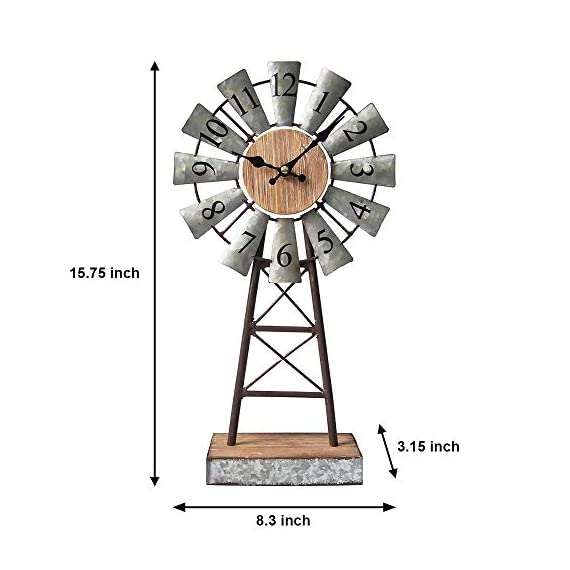 MODE HOME Galvanized Windmill Table Clock on Stand Vintage Desk Clock Decorative Farmhouse Kitchen Clock Mantle Clock - Factory direct,Vintage galvanized windmill tabletop clock on stand Clock measures 8.3L x 3.15W x 15.75H in Requires one AA battery; battery not included - clocks, bedroom-decor, bedroom - 41It5Az9XtL. SS570  -