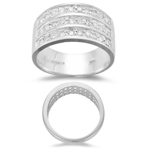 - 0.40-0.45 Cts SI2-I1 clarity & I-J color Diamond accented Three Row Band in 18K White Gold-6.0