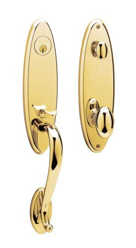 Baldwin 85360.003.ENTR Blakely Emergency Exit Handle Set with Egg Knob, Lifetime Polished Brass by Baldwin