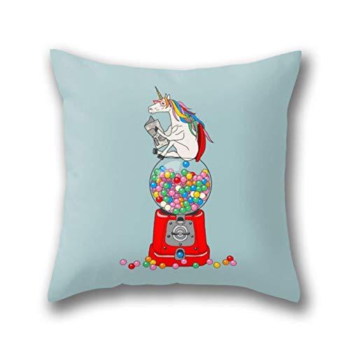 NBTJZT Unicorn Gumball Poop Pillow Cover Standard Throw Pillowcase 18X18 Inch