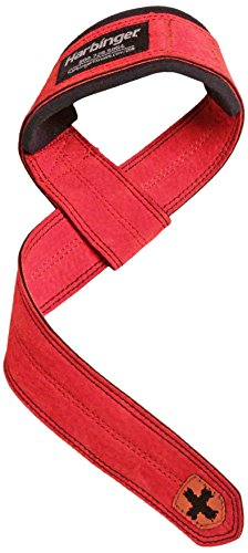 Harbinger Padded Leather Lifting Straps, Red (Red Leather Grip)