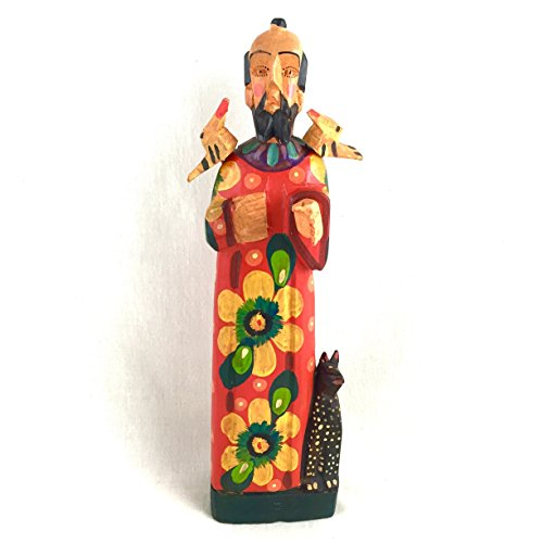 Altiplano Hand Carved Wooden Saint San Francisco Patron Saint of Animals Fair Trade Day Guatemala