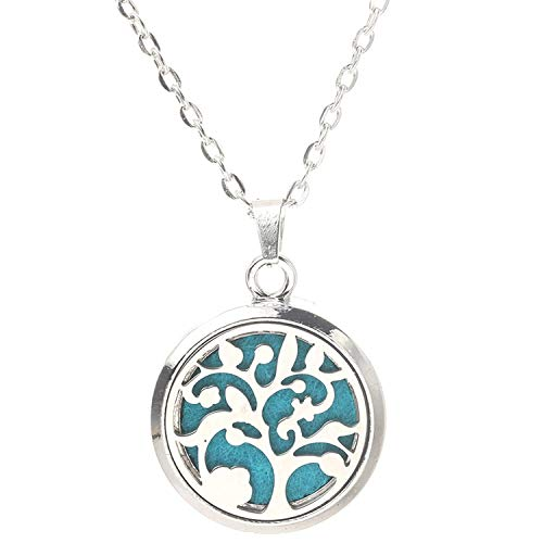 (Dayday-Summer Tree of Life Necklace Stainless Steel Aromatherapy Essential Oil Diffuser Perfume Box Locket Pendant Jewelry,B)
