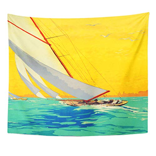 (Semtomn Tapestry Artwork Wall Hanging Blue Mediterranean Vintage Sail Boats French Yellow Beach Coast 60x80 Inches Home Decor Tapestries Mattress Tablecloth Curtain)