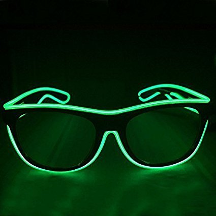 EL Glasses El Wire Fashion Neon LED Light Up Shutter Shaped Glow Sun Glasses Rave Costume Party DJ Bright SunGlasses - Sunglass Rave