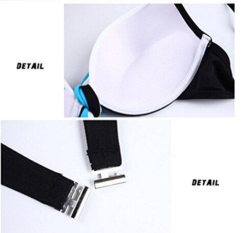 Aidonger - Mujer push-up bikini-set con shorts con slip Azul con Negro