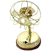 SARVSIDDHI Brass Mini Battery Fan For Mandir Standard Gold