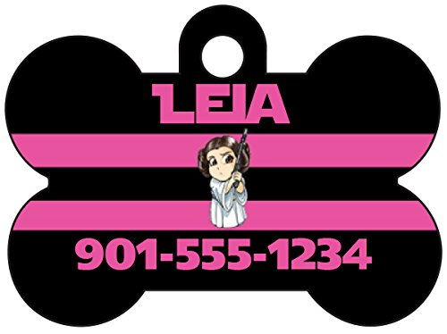 uDesignUSA Disney Star Wars Princess Leia Pet Id Dog Tag Personalized w/Name & Number ()