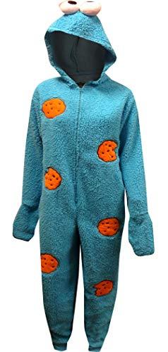 Sesame Street Women's Licensed Sleepwear Adult Costume Union Suit Pajama (XS-3X) Cookie Monster L