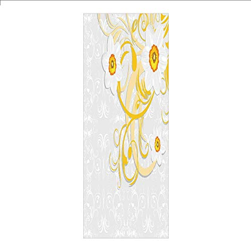 3D Decorative Film Privacy Window Film No Glue,Daffodil,Daffodils on Ornate Background Floral Repeating Swirling Curves Spring Pattern,Grey Yellow,for Home&Office