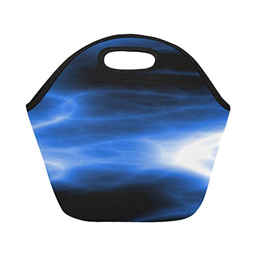 Insulated Neoprene Lunch Bag Plasma Energy Light Glow Power Bright Glowing Large Size Reusable Thermal Thick Lunch Tote Bags For Lunch Boxes For Outdoors,work, Office, School