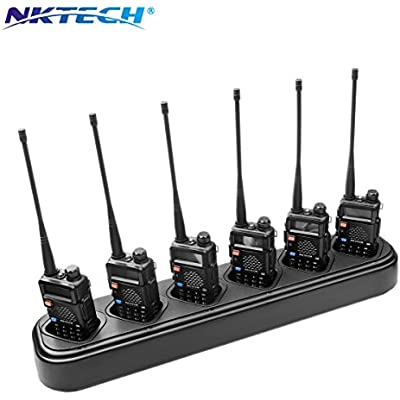 NKTECH 6-Way Universal Rapid Multi Charger For Pofung BaoFeng UV-5R Plus UV-5RA UV-5RB UV-5RE BF-F8HP UV-5RTP TYT TH-F8 Two Way Radio 7 4V Li-ion Batteries Accessories  1-Pack-Black