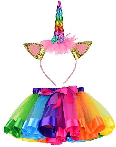 LYLKD Little Girls Layered Rainbow Tutu Skirts with Unicorn Horn Headband (Z-Rainbow, L,4-8 Years)]()
