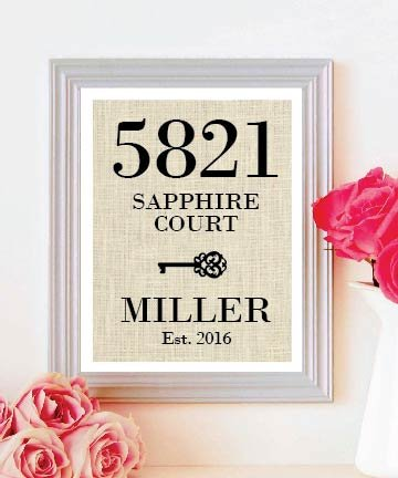 Prefect Gift for House Warming Gift Personalized House Warming Gift Burlap Print .. Vertical Design - Makes a Unique New Home Gift #B_PRINT_01
