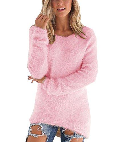 Largo Pink Cuello Vestido Camisa Suéter Redondo Señoras De La Gran Tamaño OFWAw