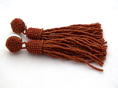 Brown Beaded Tassel Earrings Long Fringe Seed Beads Statement Tassle Ear Stud