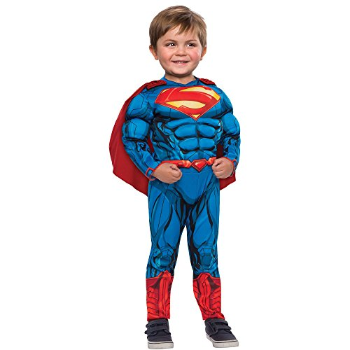 Superman Costume Muscle Chest Jumpsuit with Cape. 2T