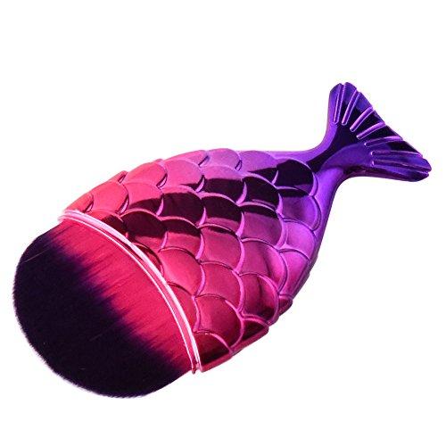 Shusuen ✿‿✿ 1PCS Creative Fish Scale Cosmetic Brush Fishtail Bottom Makeup Powder Brush For Girls -