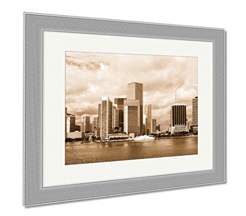 Ashley Framed Prints Miami Seascape With Skyscrapers In Bayside, Wall Art Home Decoration, Sepia, 34x40 (frame size), Silver Frame, - At Miami Bayside Shops