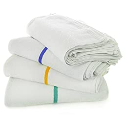 Kitchen All-purpose Bar Mop Towels, Cotton, Professional Grade for Home Kitchen or Restaurant Use - 24-pack - White (16\