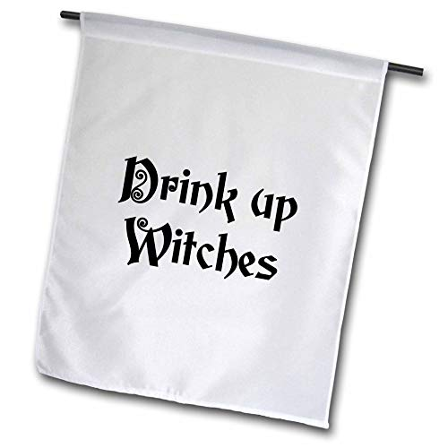 3dRose InspirationzStore - Occasions - Drink Up Witches - Witchs Brew Fun Halloween Witch Potion Black Text - 18 x 27 inch Garden Flag (fl_318140_2) -