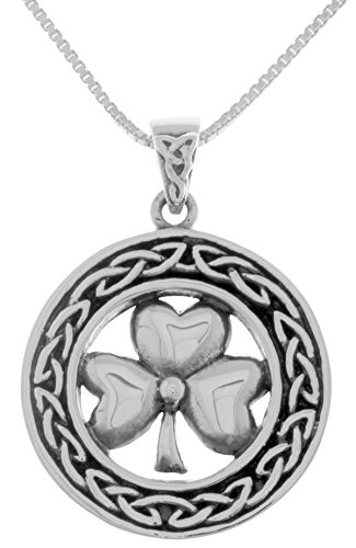 (Jewelry Trends Sterling Silver Celtic Good Luck Clover Shamrock Pendant Necklace 18