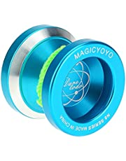 محامل كروي KK احترافي من سبيكة الألومنيوم المعدنية N8 من يويو 8 مع سلسلة دوارة للأطفال باللون الأزرق