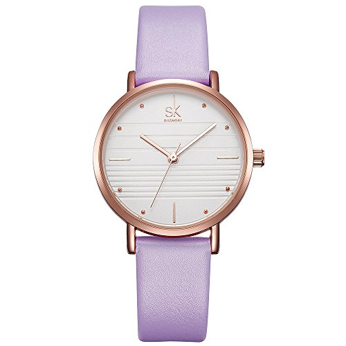Women Leather Band Quartz Watch Simple Style Student Girl Waterproof Watches (8007 (Purple Leather Watch)