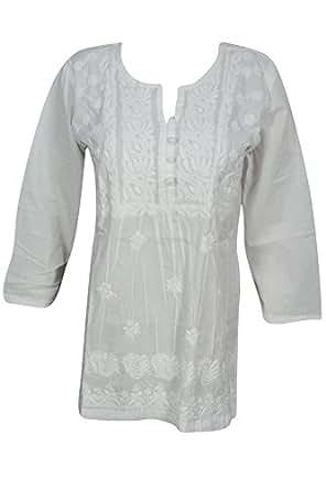 Bohemian Chic Designs Ladies White Tunic Embroidered Chikankari Blouse Top Casual Small/Medium