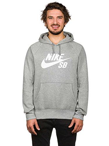Nike Mens SB Icon Logo Pull Over Hooded Sweatshirt Grey H...