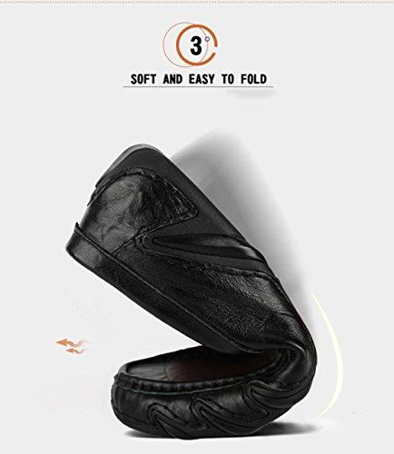 Gå Tour Mens Driver Skor Premium Äkta Läder Mode Toffel Avslappnad Slip På Dagdrivare Skor Svarta