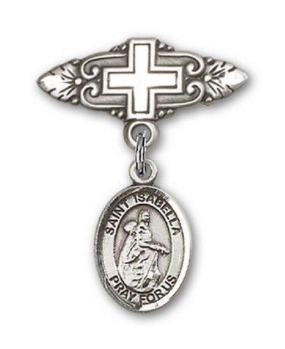 Icecarats Créatrice De Bijoux En Argent Sterling St. Isabelle De Portugal Broche De Badge Charme Avec Une Croix X 3/4