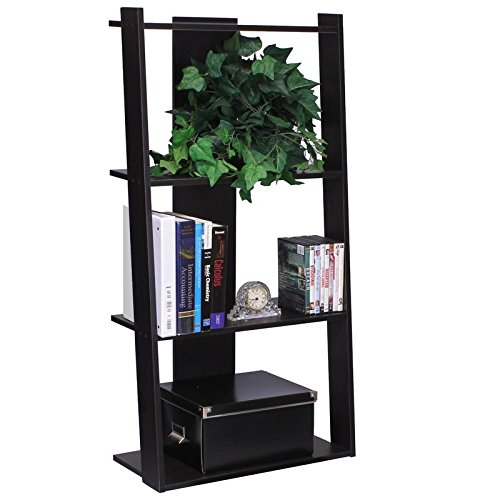 Ladder Bookcase Made of Recycled Content Manufactured Woood and Iron Construction in Espresso Color Be Organized Buy Yours Now by eCom Fortune