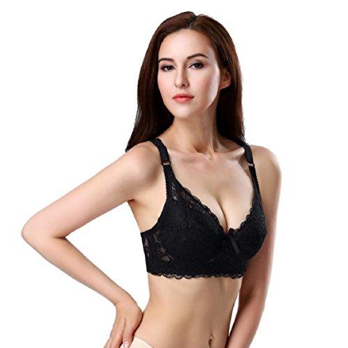 Mujeres Push Up sujetador con relleno y aros Deep V UltraThin encaje sujetador de gran tamaño Negro
