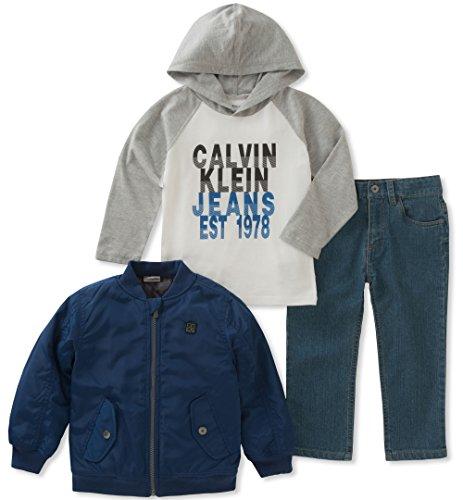 Calvin Klein Boys' Little 3 Pc Jacket Sets, Blue/White/Grey, 3T (Calvin Klein Jacket Boys)