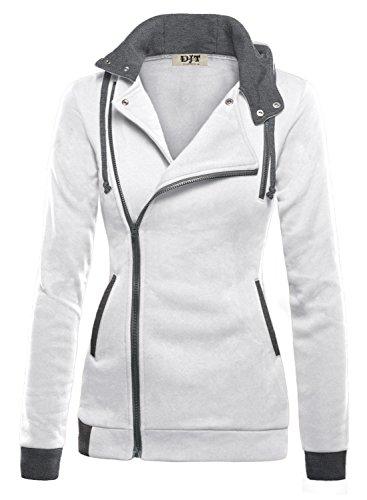 DJT Womens Oblique Zipper Hoodie