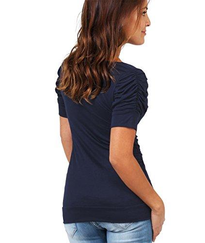 Coppa Maglietta Arricciato Collo Semplice Basic Krisp Top A Elastico Marino Donne Pieghe Maniche Blu Jersey Corte nHO0wpzx0