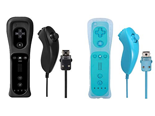 Poglen 2 Packs Wireless Gesture Controller and Nunchuck Jostick Compatible for Nintendo wii/wii u Console - with Silicone Case and Wrist Strap for wii Controller (Black and Blue) ()