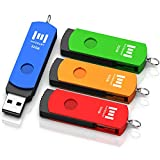 32GB USB 2.0 Flash Drive 4 Pack, A Set of 32 GB 360u00b0 Rotation Thumb Drives with Keychain, 32gig Multipack Jump Drive for Computer Storage by MOSDART (Multicolor)