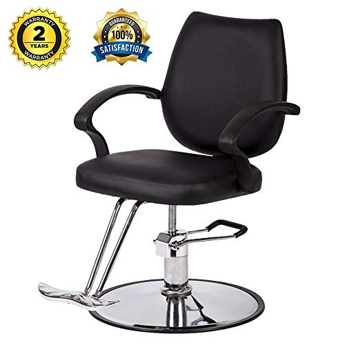 Barber Chair Salon Styling Hydraulic Black Leather Classic Chair Hair Beauty Salon Shampoo Spa Equipment (Black)