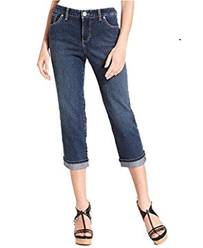 Style & Co. Petite Jeans, Tummy-Control Cuffed Capri, Oxford Wash 6P