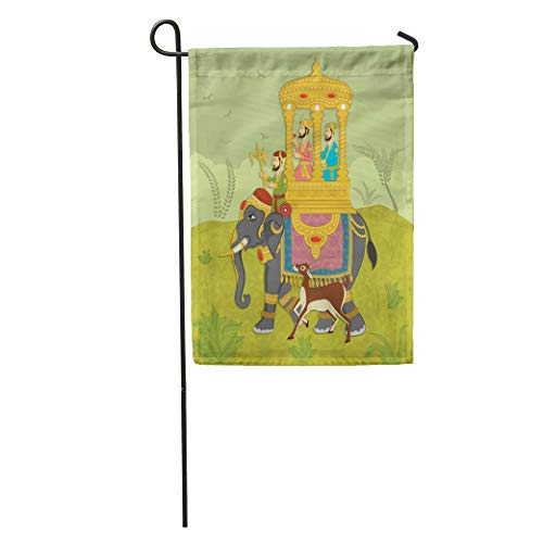 Semtomn Garden Flag Colorful Mughal King on Elephant Ride in Indian India Rajasthan Home Yard House Decor Barnner Outdoor Stand 12x18 Inches Flag