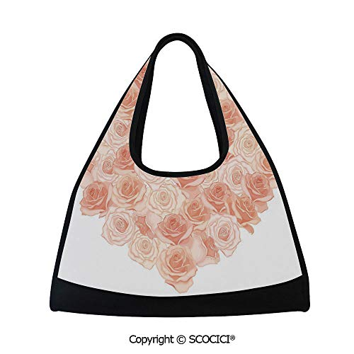 (Badminton bag,Valentines Day Inspired Heart Shaped Blooming Roses Bouquet with Romantic Design Decorative,Easy to Carry(18.5x6.7x20 in) Salmon Peach)