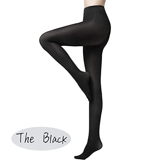 1e35d2f04 KOOYOL Women Opaque Control-Top Tights Footed Pantyhose Leggings 80 Denier  at Amazon Women s Clothing store