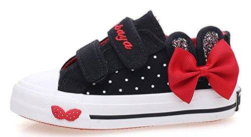 Polka Dot Fabric Flats - iDuoDuo Girls Twinkle Rabbit Ear Polka Dot Bowknot Canvas Shoes Black 10 M US Toddler