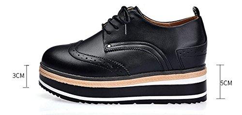 JiYe Womens PU Leather Fashion Sneakers Casual Lace Up Walking Shoes by Black-1 XvPnTUZh