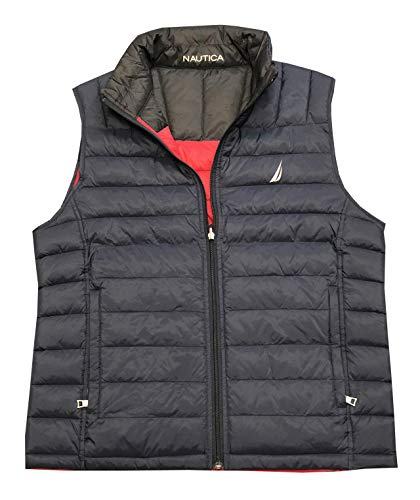 - Nautica Mens Water Resistant Quilted Puffer Reversible Vest (L, Navy/Dark red,Black)