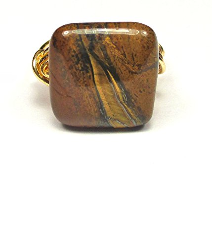 Natures Majestic Crown (Natures Yellow Tiger Iron Gemstone Artisan Gold Tone Wire Wrap Ring All Sizes)