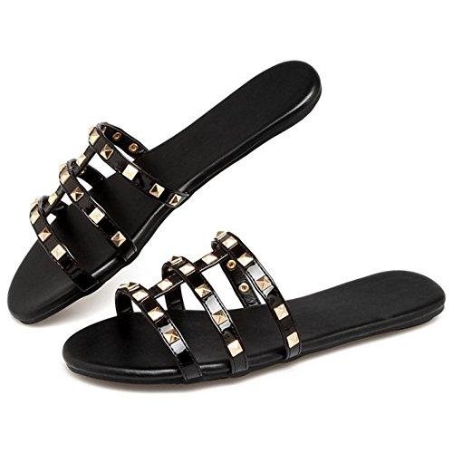 Sandales Black Ete RAZAMAZA Chaussons Pantoufle Femmes fwAxq4vx