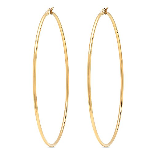 Gold Tone Yellow Earrings (3.5 Inch Stunning Stainless Steel Yellow Gold Tone Hoop Earrings (90mm Diameter))